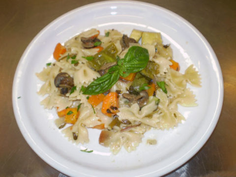 Snails with farfalle spaghetti
